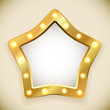 Blank golden star frame with light bulbs