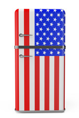 Retro refrigerator with the USA flag on the door