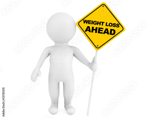 3d person with Weight Loss Ahead traffic sign