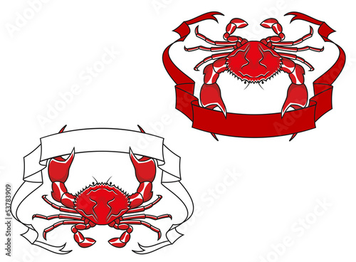 Red crab with ribbon in claws