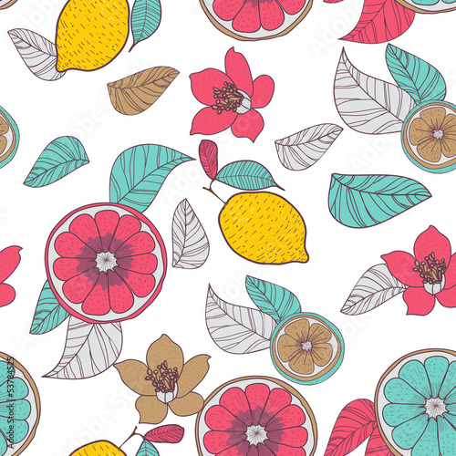 Fototapeta Lemons with leafs