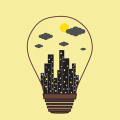 Building in the Light bulb vector icon, idea concept