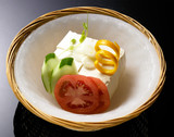 "japanese summer's food ""chilled tofu""on ice blow"