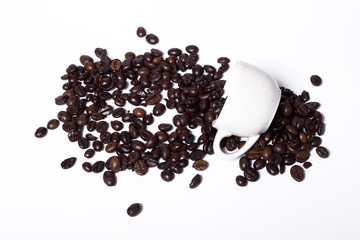 coffee beans and cap of coffee