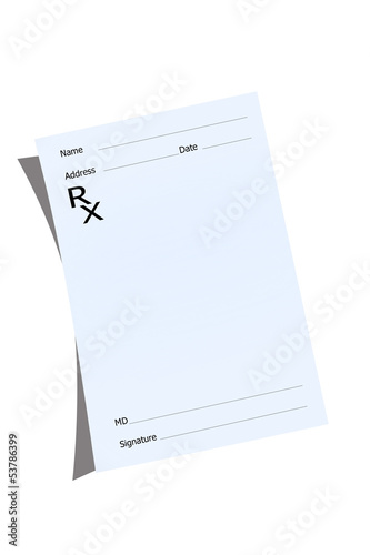 An empty prescription pad stationery
