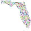Colored Map of Florida - USA -