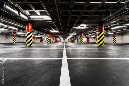 Leinwanddruck Bild Parking garage underground interior