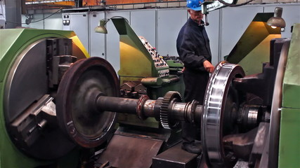 Worker lathe operator