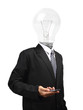 Lamp head businessman holding mobile phone