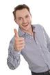 Erfolgreicher Geschäftsmann Daumen hoch lachend isoliert