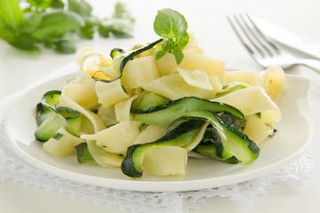 Pasta tagliatelle with zucchini.