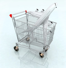 airplane on the shopping cart