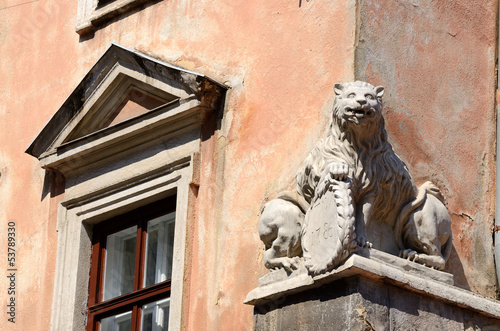 Renaissance lion statue on medieval house in Lemberg,Ukraine