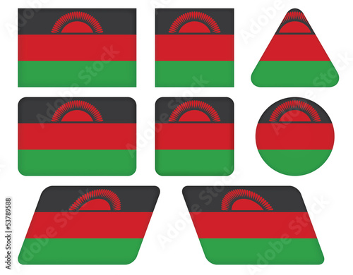 set of buttons with flag of Malawi