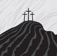 mountain with three crosses