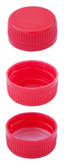 Isolated Red Plastic Bottle Caps
