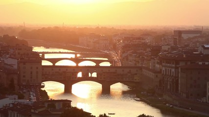 Bridges of Florence over the Arno River at sunset, Italy