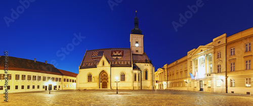 Zagreb church at night - St. Mark's