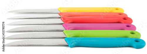Set of colorful knives isolated on white