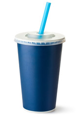 Dark blue cardboard cup with a straw