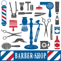 Vintage barber shop tools silhouette icons set 2