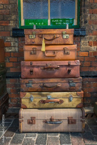 Old style suitcases ready for loading
