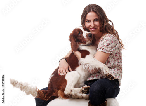 Beautiful caucasian woman with dog