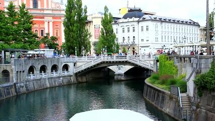 People in Ljubljana, capitol of Slovenia, Europe.