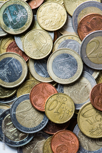 Money: Several Euro Coins