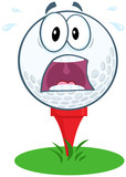 Panic Golf Ball Cartoon Mascot Character Over Tee