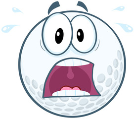 Panic Golf Ball Cartoon Mascot Character