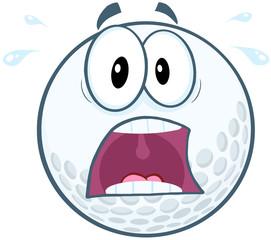 Panic Golf Ball Cartoon Mascot Character