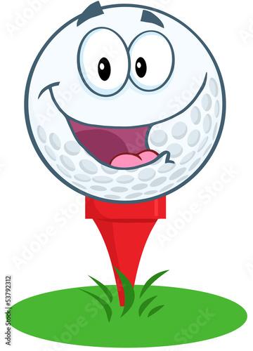 Happy Golf Ball Cartoon Mascot Character Over Tee - 53792312