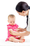 doctor vaccinating child isolated on a white