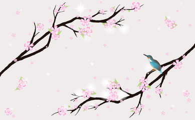 Card with stylized cherry blossom and a bird.