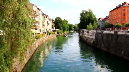 Tourist boat in river Ljubljanica. Ljubljana, Slovenia, Europe.