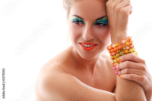 Beautiful woman with artistic makeup