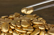 Tweezers holding golden stone on wooden background