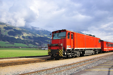 Red train in Alps