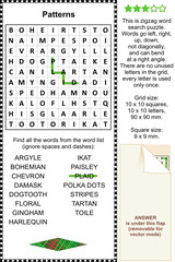 Patterns and prints themed wordsearch puzzle