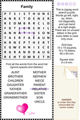 Family and relatives themed wordsearch puzzle