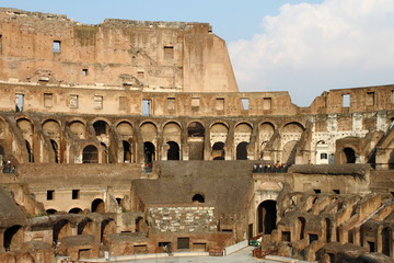 Internal side of Colosseum in Rome, Italy