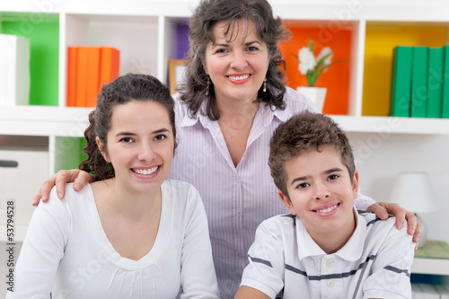 Portrait of happy mom with children
