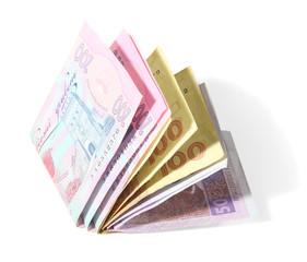 Ukrainian money, isolated on white