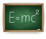 Albert Einsteins physical formula on blackboard poster