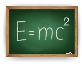 Albert Einsteins physical formula on blackboard