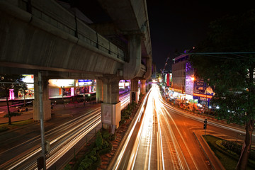 Light trails on RamaI street at Pathumwan junction