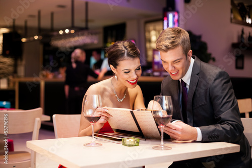 couple with menu card