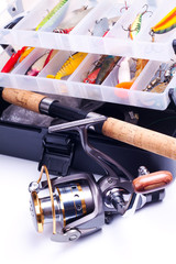 Fishing gear on a white background