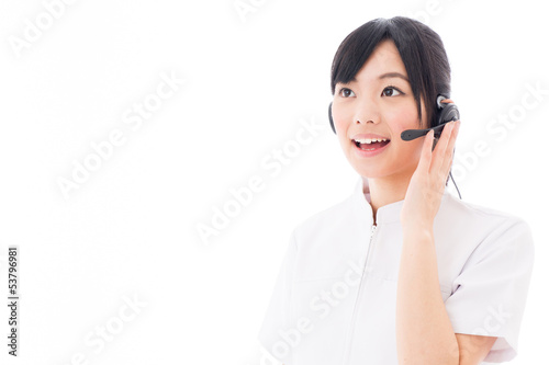 attractive asian nurse with headset